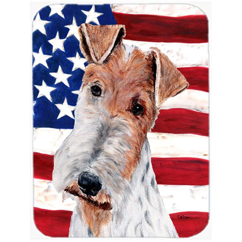 Carolines Treasures SC9628MP Wire Fox Terrier With American Flag Usa Mouse Pad Hot Pad Or Trivet 7.75 x 9.25 In.