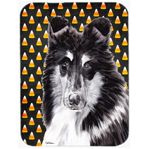 Carolines Treasures SC9654MP Black And White Collie Candy Corn Halloween Mouse Pad Hot Pad Or Trivet 7.75 x 9.25 In.