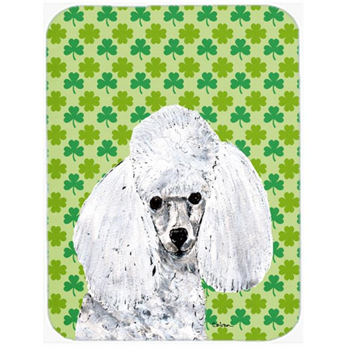 Carolines Treasures SC9725MP White Toy Poodle Lucky Shamrock St. Patricks Day Mouse Pad Hot Pad Or Trivet 7.75 x 9.25 In.