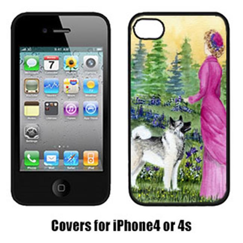 Carolines Treasures SS8154IP4 Lady with her Norwegian Elkhound Cell Phone cover Iphone 4