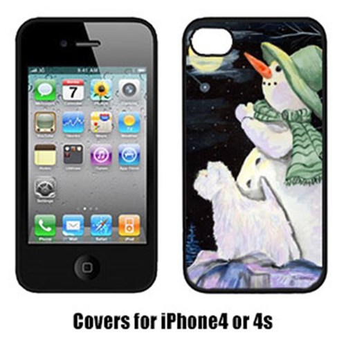 Carolines Treasures SS8797IP4 Snowman With Westie Iphone4 Cover