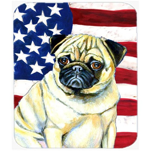 Carolines Treasures LH9002MP 9.5 x 8 in. USA American Flag with Pug Mouse Pad Hot Pad or Trivet