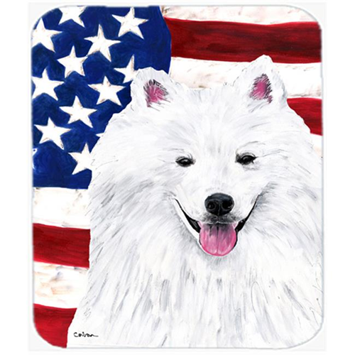 Carolines Treasures SC9023MP Usa American Flag With American Eskimo Mouse Pad Hot Pad Or Trivet
