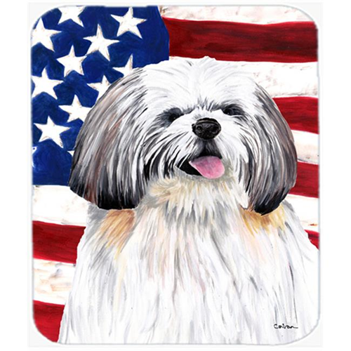 Carolines Treasures SC9028MP Usa American Flag With Shih Tzu Mouse Pad Hot Pad Or Trivet