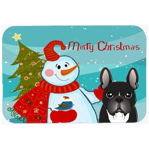 Carolines Treasures BB1847MP Snowman With French Bulldog Mouse Pad Hot Pad & Trivet