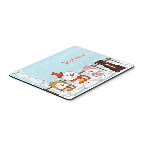 Carolines Treasures BB2379MP Merry Christmas Carolers Staffordshire Bull Terrier Chocolate Mouse Pad Hot Pad or Trivet