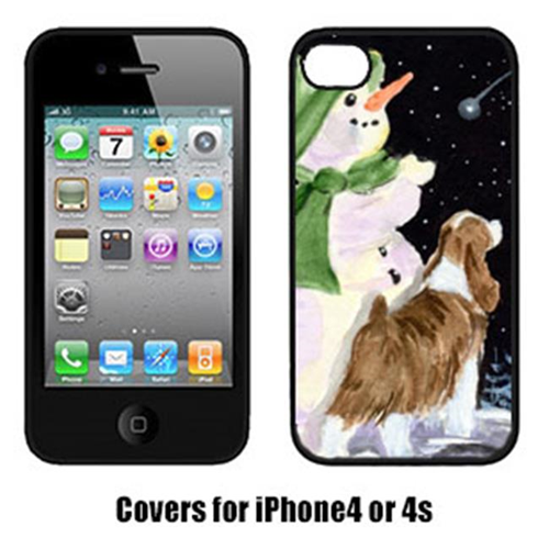 Carolines Treasures SS8949IP4 Snowman With English Springer Spaniel Cell Phone Cover Iphone4