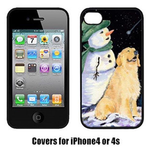Carolines Treasures SS8577IP4 Golden Retriever With Snowman In Green Hat Iphone4 Cover