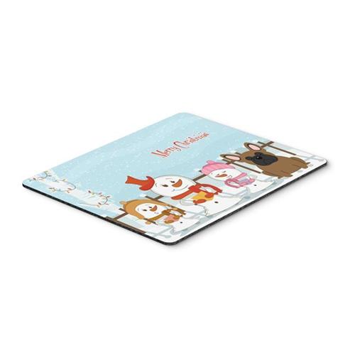 Carolines Treasures BB2344MP Merry Christmas Carolers French Bulldog Brown Mouse Pad Hot Pad or Trivet