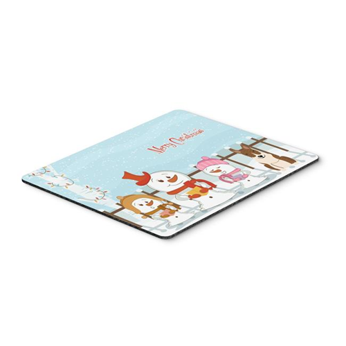 Carolines Treasures BB2468MP Merry Christmas Carolers Bull Terrier Brindle Mouse Pad Hot Pad or Trivet