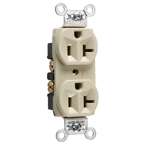 Pass & Seymour CRB5362ICC12 Heavy Duty Duplex Outlet 20A Ivory