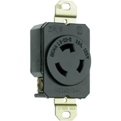 Pass & Seymour L520RCCV3 Locking Outlet 20A 125V Black