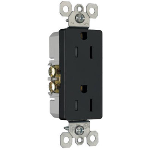 Pass & Seymour 885TRBKCC8 15A 2 Pole 3 Wire Decorator Child Safety Outlet Black