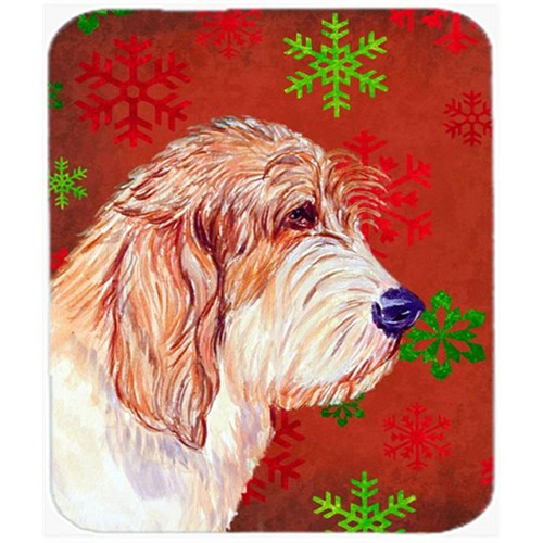 Carolines Treasures LH9352MP Petit Basset Griffon Vendeen Snowflakes Christmas Mouse Pad Hot Pad Or Trivet - 7.75 x 9.25 In.