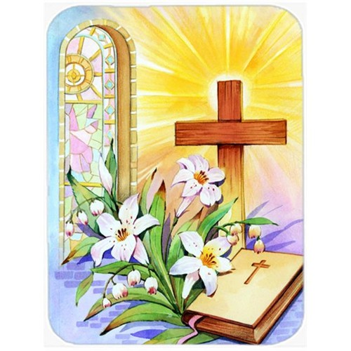 Carolines Treasures APH5433MP Easter Cross & Bible in Stain Glass Window Mouse Pad Hot Pad or Trivet