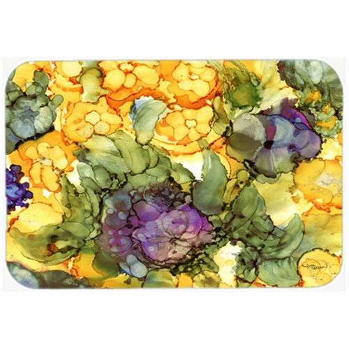 Carolines Treasures 8958MP Abstract Flowers Purple & Yellow Mouse Pad Hot Pad or Trivet