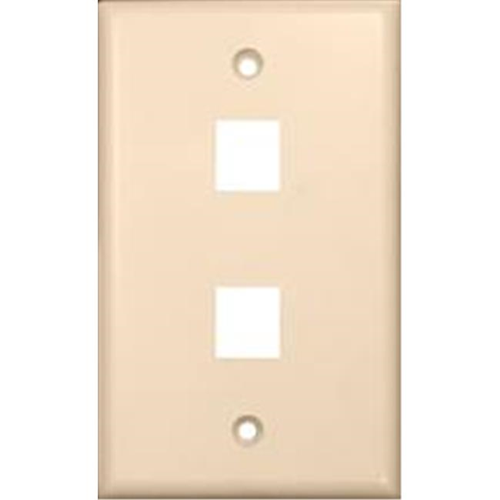 Morris Products 88184 Wallplate For Keystone Jacks And Modular Inserts Two Ports Lt. Almond
