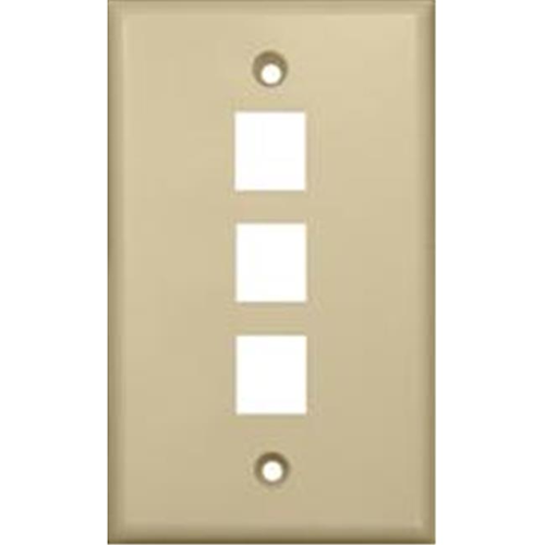 Morris Products 88146 Wallplate For Keystone Jacks And Modular Inserts Three Ports Ivory