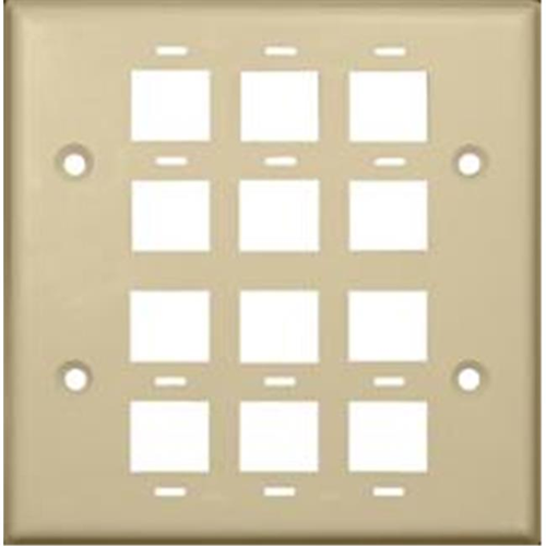Morris Products 88152 Wallplate For Keystone Jacks And Modular Inserts 12 Ports 2 Gang Ivory