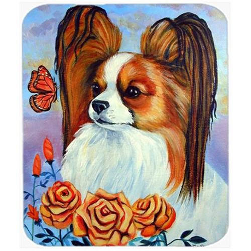 Carolines Treasures 7039MP 9.5 x 8 in. Papillon in the Roses Mouse Pad Hot Pad or Trivet