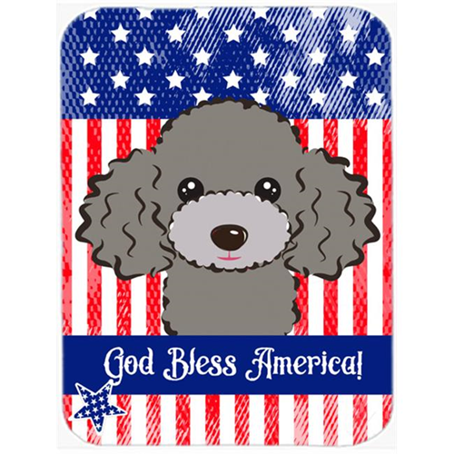 Carolines Treasures BB2189MP God Bless American Flag with Silver Gray Poodle Mouse Pad Hot Pad or Trivet