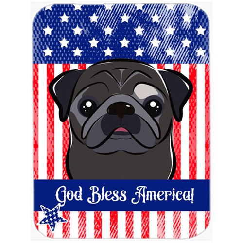 Carolines Treasures BB2193MP God Bless American Flag with Black Pug Mouse Pad Hot Pad or Trivet