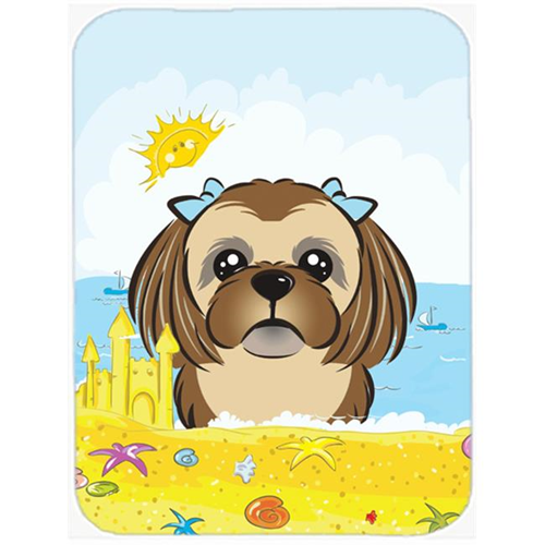 Carolines Treasures BB2117MP Chocolate Brown Shih Tzu Summer Beach Mouse Pad Hot Pad or Trivet
