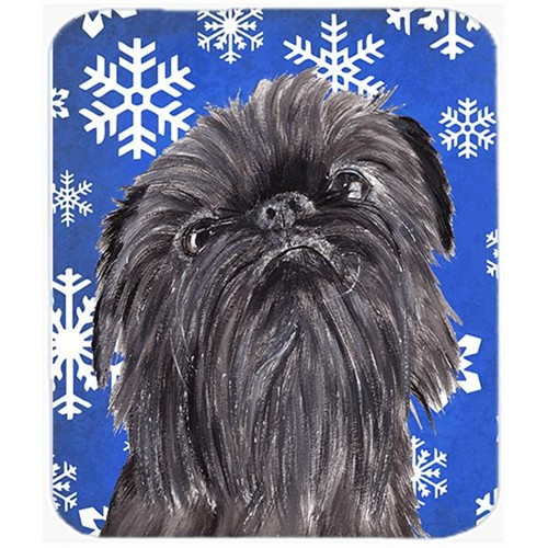 Carolines Treasures SC9601MP 7.75 x 9.25 in. Brussels Griffon Blue Snowflake Winter Mouse Pad Hot Pad or Trivet