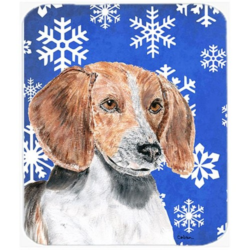 Carolines Treasures SC9607MP 7.75 x 9.25 in. English Foxhound Blue Snowflake Winter Mouse Pad Hot Pad or Trivet