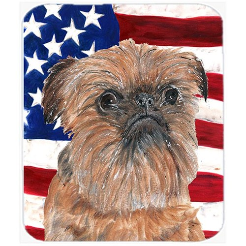 Carolines Treasures SC9516MP 7.75 x 9.25 In. Brussels Griffon USA American Flag Mouse Pad Hot Pad or Trivet