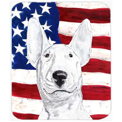 Carolines Treasures SC9520MP 7.75 x 9.25 In. Bull Terrier USA American Flag Mouse Pad Hot Pad or Trivet