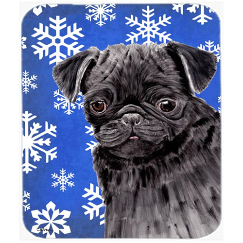Carolines Treasures SC9366MP Pug Winter Snowflakes Holiday Mouse Pad Hot Pad or Trivet