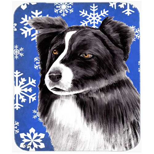 Carolines Treasures SC9367MP Border Collie Winter Snowflakes Holiday Mouse Pad Hot Pad or Trivet