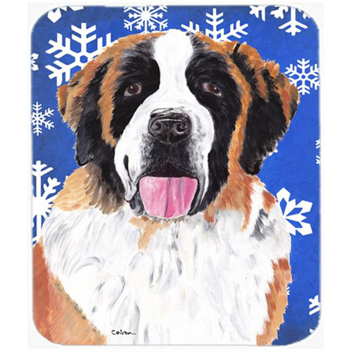 Carolines Treasures SC9382MP Saint Bernard Winter Snowflakes Holiday Mouse Pad Hot Pad or Trivet