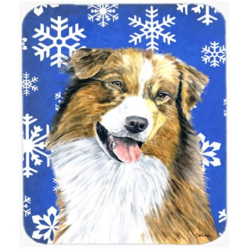 Carolines Treasures SC9397MP Australian Shepherd Winter Snowflakes Holiday Mouse Pad Hot Pad Or Trivet