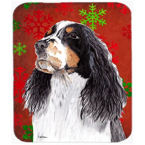 Carolines Treasures SC9401MP Springer Spaniel Red And Green Snowflakes Christmas Mouse Pad Hot Pad Trivet