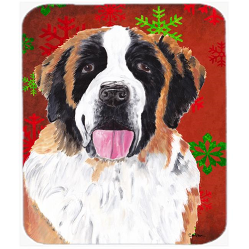 Carolines Treasures SC9422MP Saint Bernard Red And Green Snowflakes Christmas Mouse Pad Hot Pad Or Trivet