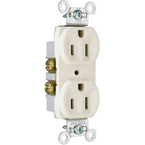 Pass & Seymour CR15LACC12 15A 125V 2 Pole 3 Wire Grounding Heavy Duty Duplex Outlet Light Almond