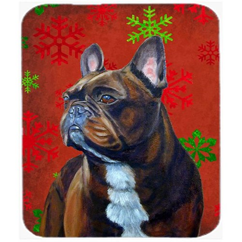 Carolines Treasures LH9340MP French Bulldog Red And Green Snowflakes Christmas Mouse Pad Hot Pad Or Trivet - 7.75 x 9.25 In.