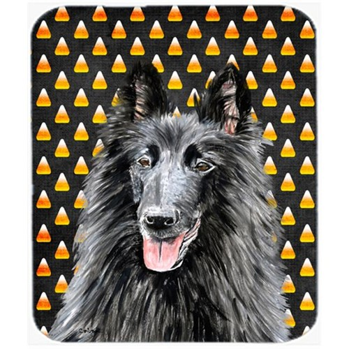 Carolines Treasures SC9196MP Belgian Sheepdog Candy Corn Halloween Portrait Mouse Pad Hot Pad Or Trivet
