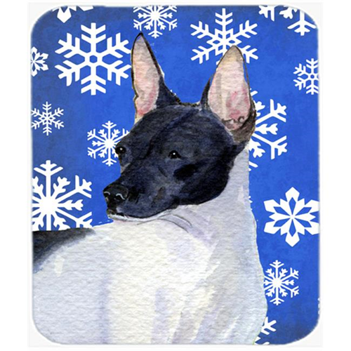 Carolines Treasures SS4618MP Rat Terrier Winter Snowflakes Holiday Mouse Pad Hot Pad Or Trivet