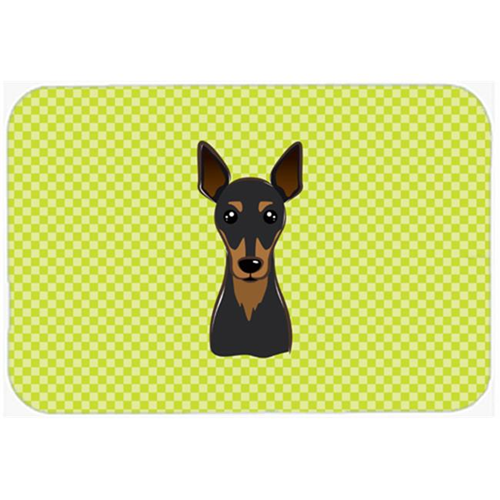Carolines Treasures BB1302MP Checkerboard Lime Green Min Pin Mouse Pad Hot Pad Or Trivet 7.75 x 9.25 In.