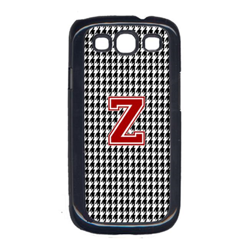 Carolines Treasures CJ1021-Z-GALAXYSIII 3 x 5 in. Houndstooth Black Letter Z Monogram Initial Cell Phone Cover for Galaxy S111
