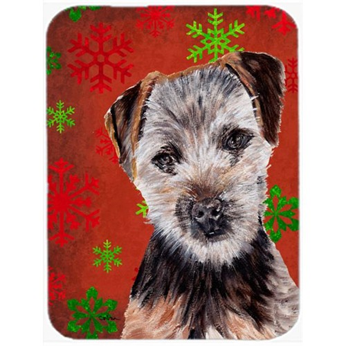 Carolines Treasures SC9759MP Norfolk Terrier Puppy Red Snowflakes Holiday Mouse Pad Hot Pad Or Trivet 7.75 x 9.25 In.