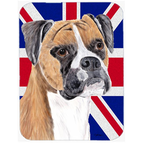 Carolines Treasures SC9847MP 7.75 x 9.25 In. Boxer With English Union Jack British Flag Mouse Pad Hot Pad Or Trivet