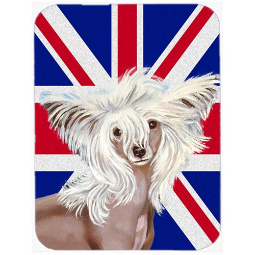 Carolines Treasures LH9501MP 7.75 x 9.25 In. Chinese Crested With English Union Jack British Flag Mouse Pad Hot Pad Or Trivet
