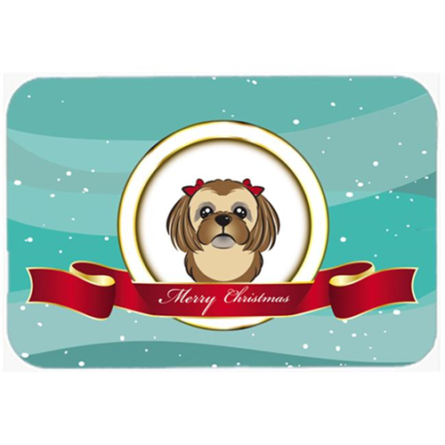 Carolines Treasures BB1559MP Chocolate Brown Shih Tzu Merry Christmas Mouse Pad Hot Pad & Trivet