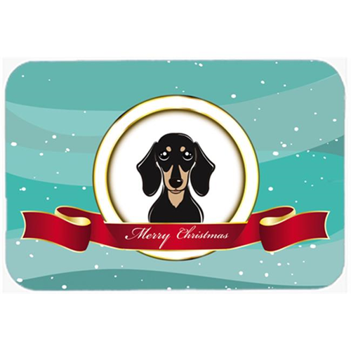 Carolines Treasures BB1525MP Smooth Black And Tan Dachshund Merry Christmas Mouse Pad Hot Pad & Trivet