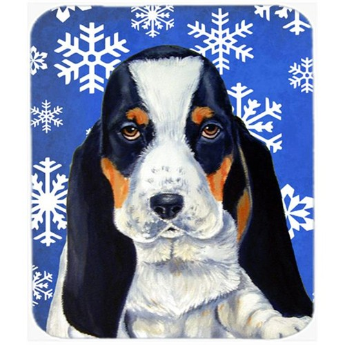 Carolines Treasures LH9284MP Basset Hound Winter Snowflakes Holiday Mouse Pad Hot Pad Or Trivet