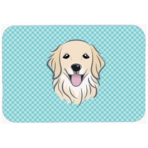 Carolines Treasures BB1143MP Checkerboard Blue Golden Retriever Mouse Pad Hot Pad Or Trivet 7.75 x 9.25 In.